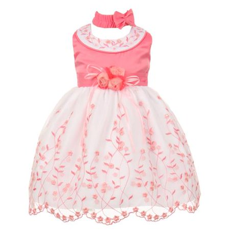 Baby Girls Bubble Gum White Floral Jeweled Flower Girl Bubble Dress 6M (Jeweled Party Dress)