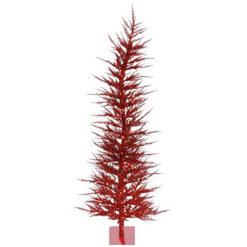 6' Pre-Lit Whimsical Red Artificial Tinsel Christmas Tree - Clear Lights