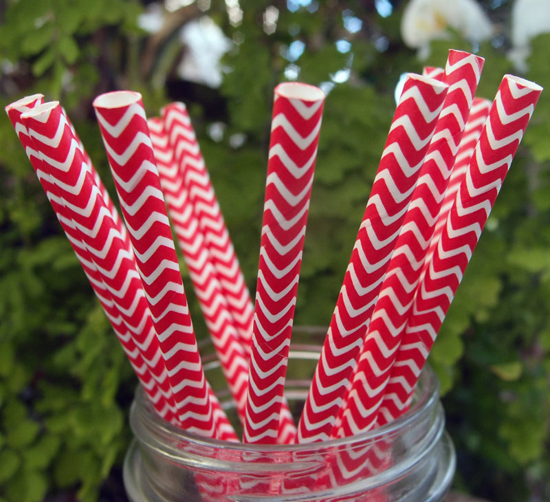 Quasimoon Red Chevron Patterned Party Paper Straws (12 Pack) by PaperLanternStore