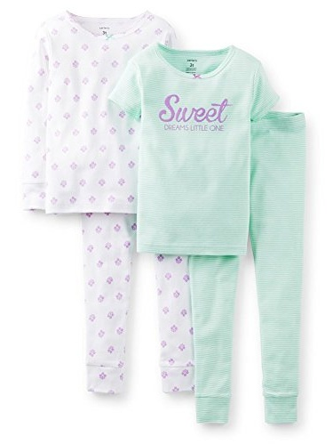 Carter's Little Girls' 4 Piece Pajama Set- Sweet Dreams Little One-4T