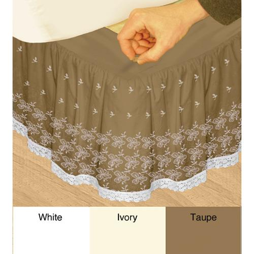 Veratex 'Hike Up Your Skirt' Embroidered Adjustable 17-inch Drop Queen-size Bedskirt Taupe