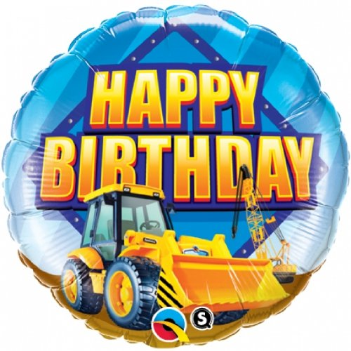 Under Construction Happy Birthday Foil Balloon 2 Pack