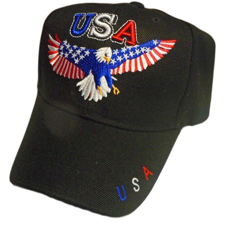 Bald Eagle w/ Stars & Stripe Wings Embroidered Baseball Hat - (Embroidered Wings)
