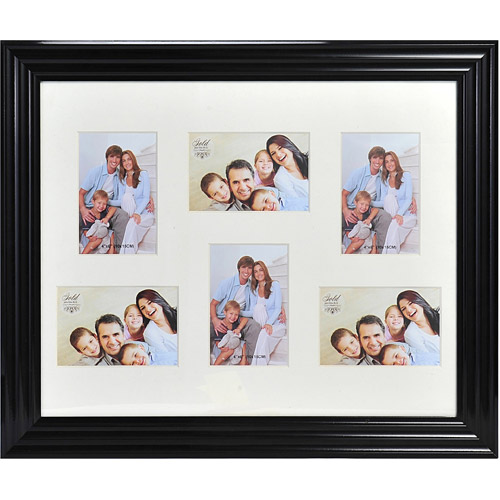 Melannco 6-Opening Photo Collage, Black, Picture Frame