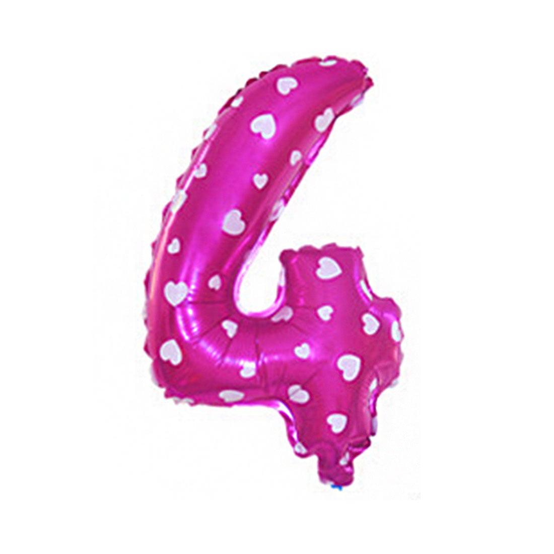 "Unique Bargains 16"" Fuchsia Foil Number 4 Shape Balloon Helium Birthday Wedding Decor"