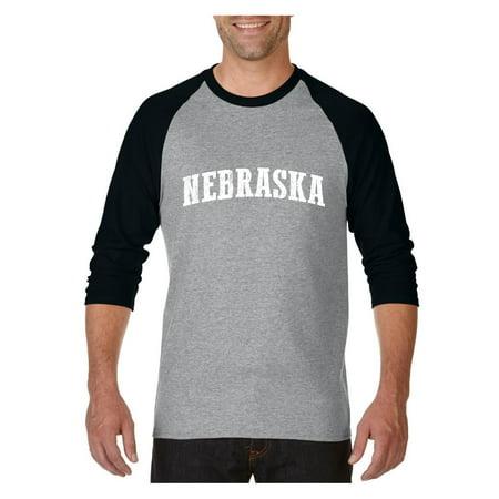 Nebraska Graphic - Nebraska State Flag Raglan Sleeve Baseball T-Shirt
