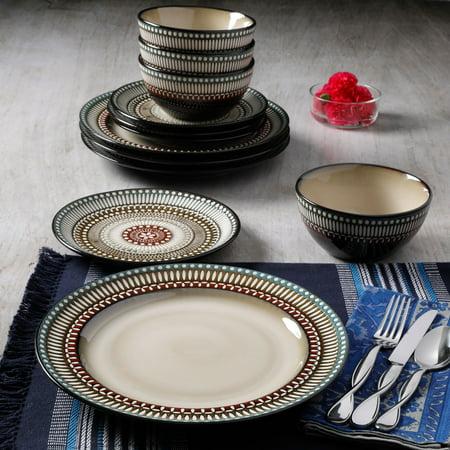 Better Homes & Gardens Augustine 12-Piece Reactive Glaze Dinnerware Set, Brown ()