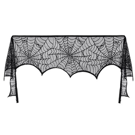 Fireplace Scarf Halloween Decoration Black Lace Spider Web Mantle Lace Scarf Festive Supplies for Party Supplies Decoration, 18*96 - Halloween Mega Spider Web
