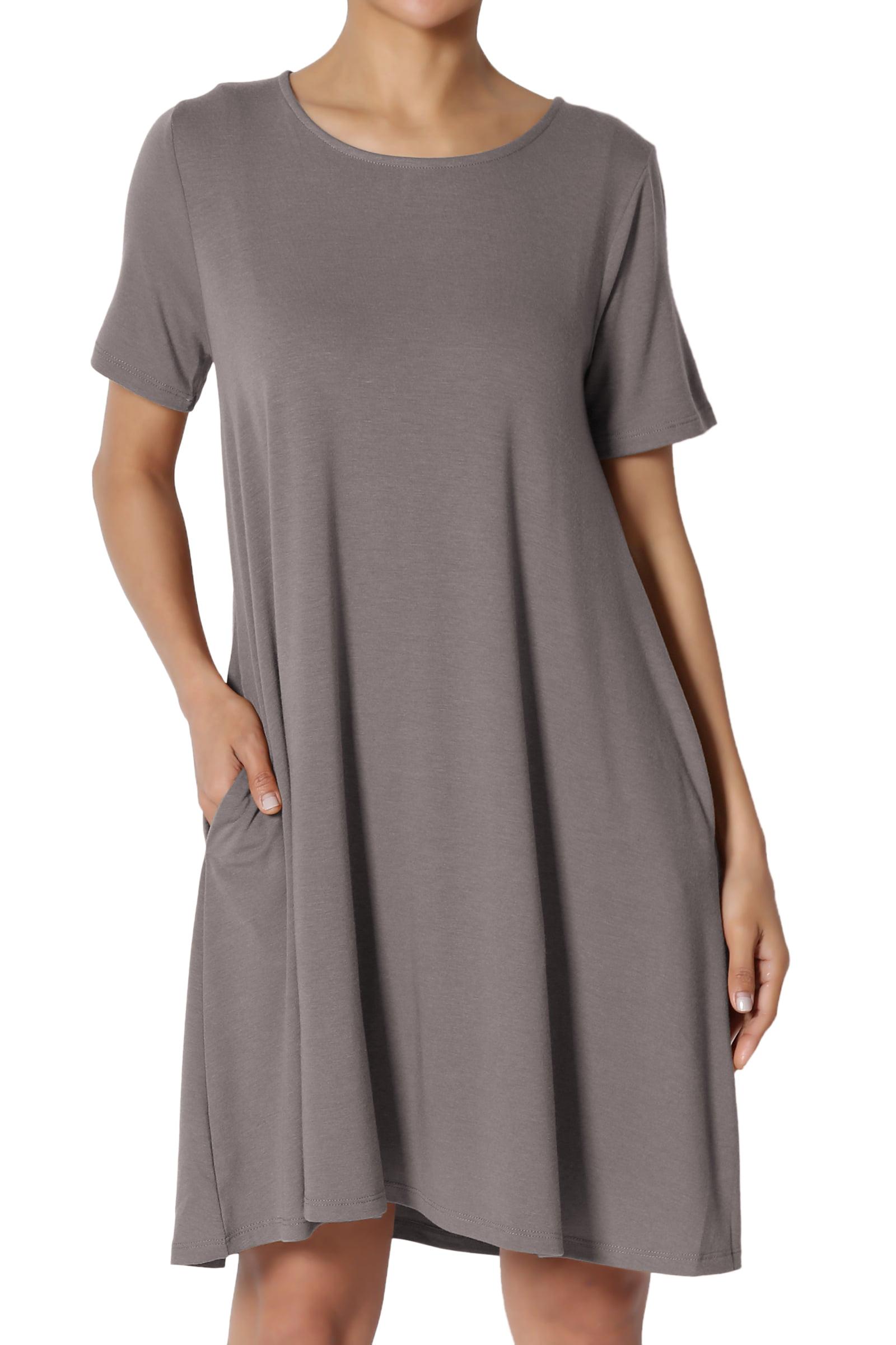 TheMogan Women's PLUS Short Sleeve Round Neck Pocket Flared A-Line Long Tunic Top