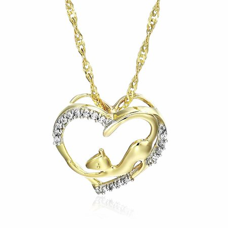 Vir Jewels 1/20 cttw Diamond Pet Heart Pendant 14K Yellow Gold 18 Inch Chain