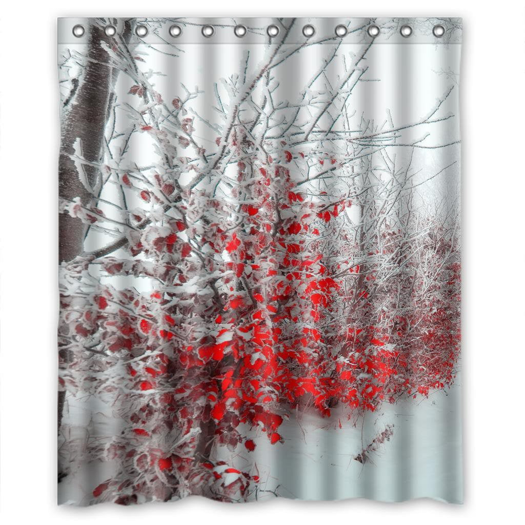 Hellodecor Snowfield Blosom Red Flower Elegent Shower