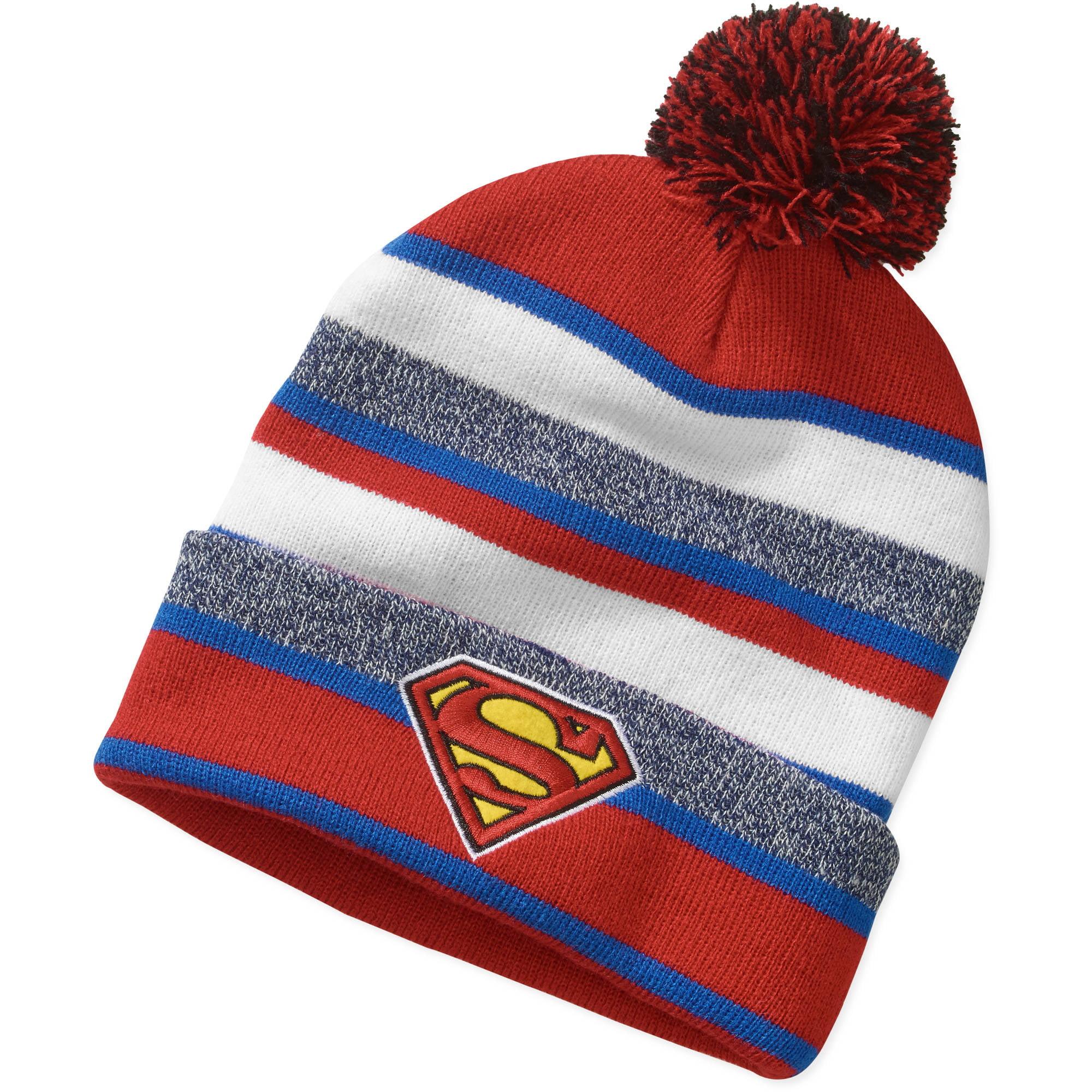 Mens Superman Knit Cuff Pom Beanie