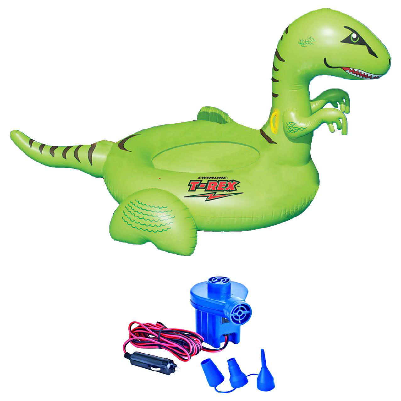Swimline 90624 Pool Kids Giant Dinosaur Inflatable Float Toy w  12 Volt Air Pump by Swimline