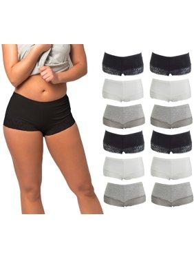 Women's Seamless Laced Boyshort Panties Underwear | 12 Pack