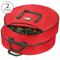 "Premium Holiday Christmas Wreath Storage Bag 36"" - Protects Your Artificial Wreaths, Durable Handles, Dual Zipper & Card Slot, Holiday Xmas Tear Resistant Storage Container 420D Oxford Fabric - 2 Pack"