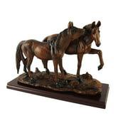 Wood Finish Wild Horses Statue