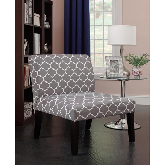 Emily Accent Chair Grey White Pattern