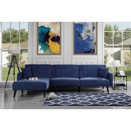 Mid Century Reclining Sectional Sleeper Sofa, Navy