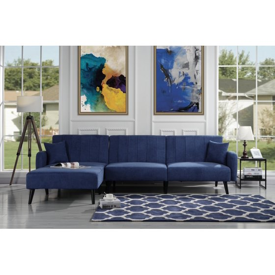 Mid Century Reclining Sectional Sleeper Sofa, Red