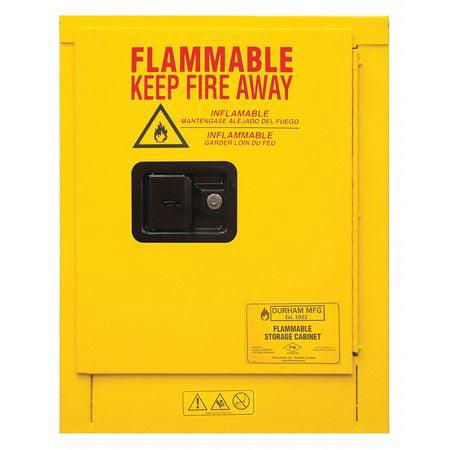Safety Cabinet, Manual Close, 4 gal., Yellow Durham MFG 1004M-50