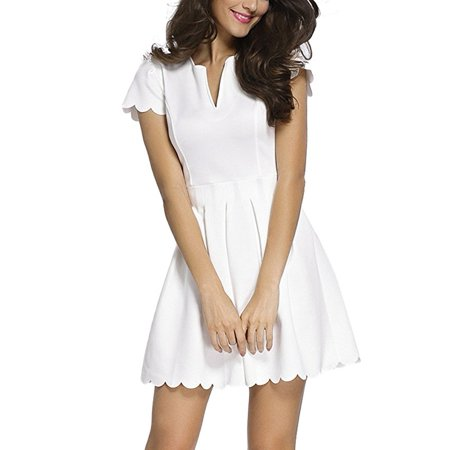 Women Cute V Neck Sweet Scallop Pleated Skater Dress - Dress Sweet 17