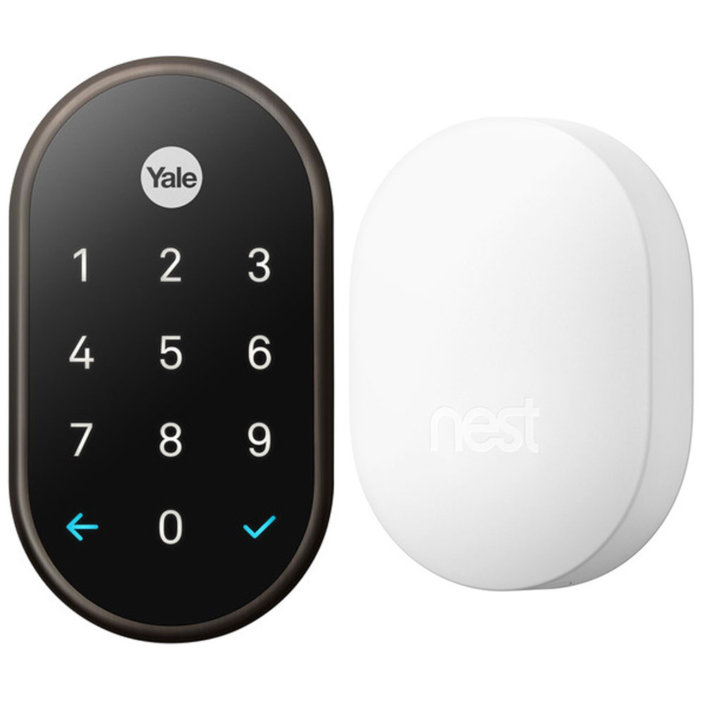 Nest x Yale Lock Oil Rubbed Bronze Bundle with Nest Connect H17000EF White