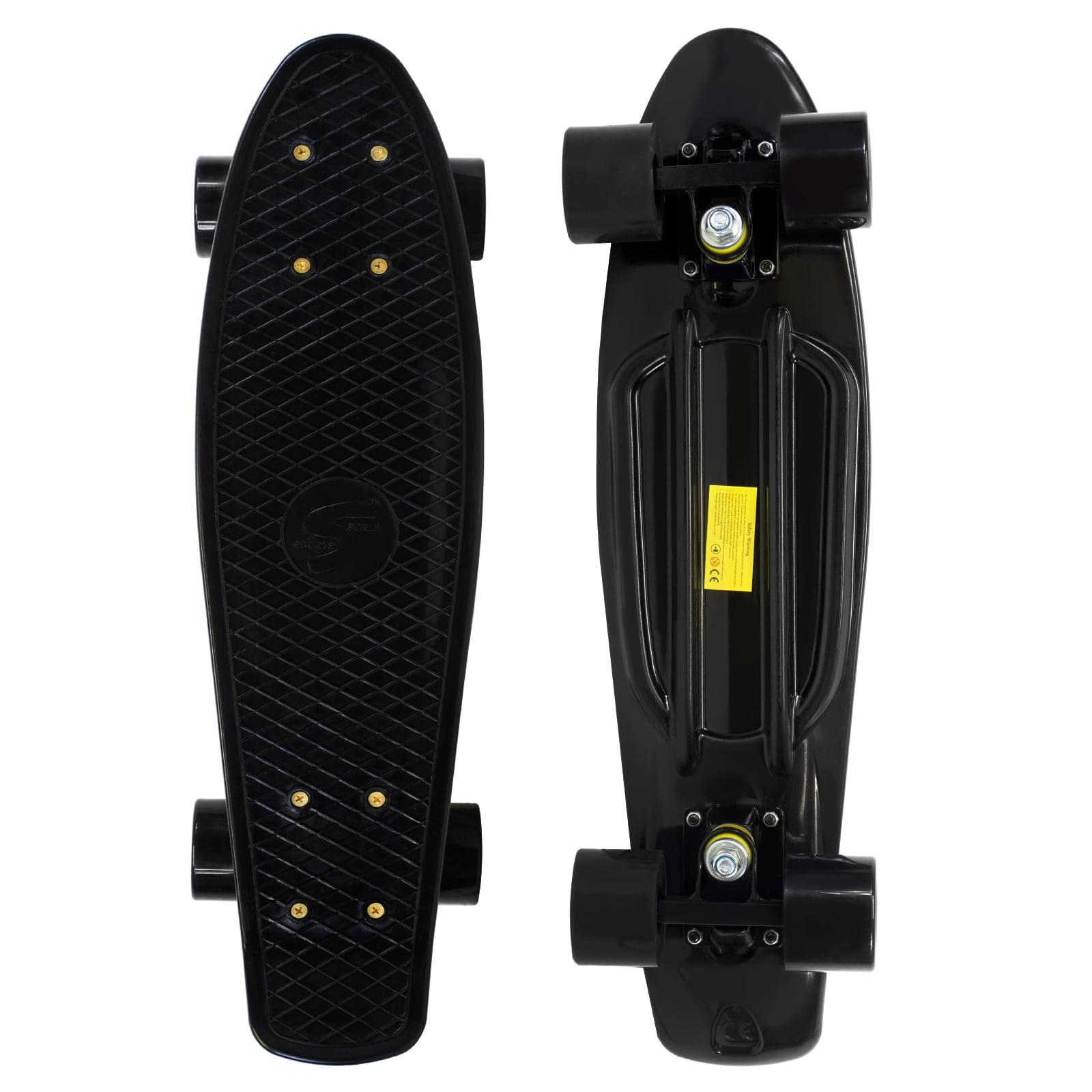 Penny Style Cruiser 22 inch Board Plastic Retro Mini Skateboard Complete, Black by Scale Sports
