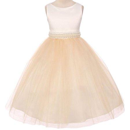 - Flower Girl Dress Ivory Satin Bodice Illusion Material Belt for Big Girl Champagne 10 MBK.343