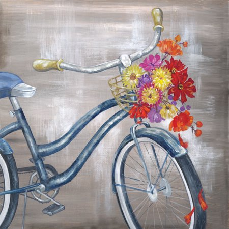Vintage, Old Fashioned Bicycle with Basket Full Of Flowers; One 12x12in Paper Poster Print