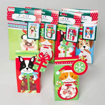 PET CHRISTMAS TREAT BOXES 4PK 4AST W/TAG & WINDOW 3DOG/1CAT ON, Case Pack of 48