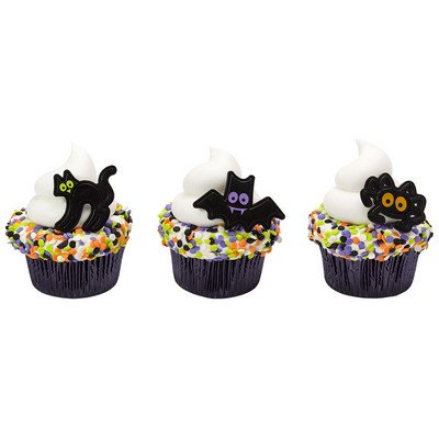 24pack Classic Halloween Characters Cupcake / Desert / Food Decoration Topper Rings with Favor Stickers & Sparkle Flakes](Cheap Halloween Party Food)