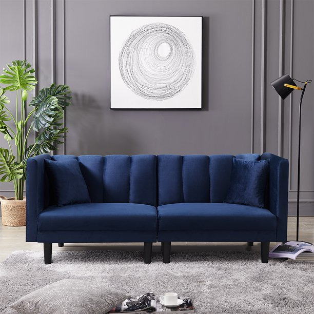 Navy Blue Couch Seventh Convertible Sofa Velvet Sleeper Sofa Bed Daybed Adjustable Backrest Futon Sofa Couch With 2 Detachable Armrests 2 Pillows Recliner Couch Living Room Furniture Sofa Q395 Walmart Com Walmart Com