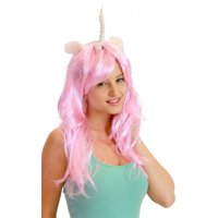 Deluxe Unicorn Costume Wig With Ears Adult: Pink/Flower One Size Fits Most