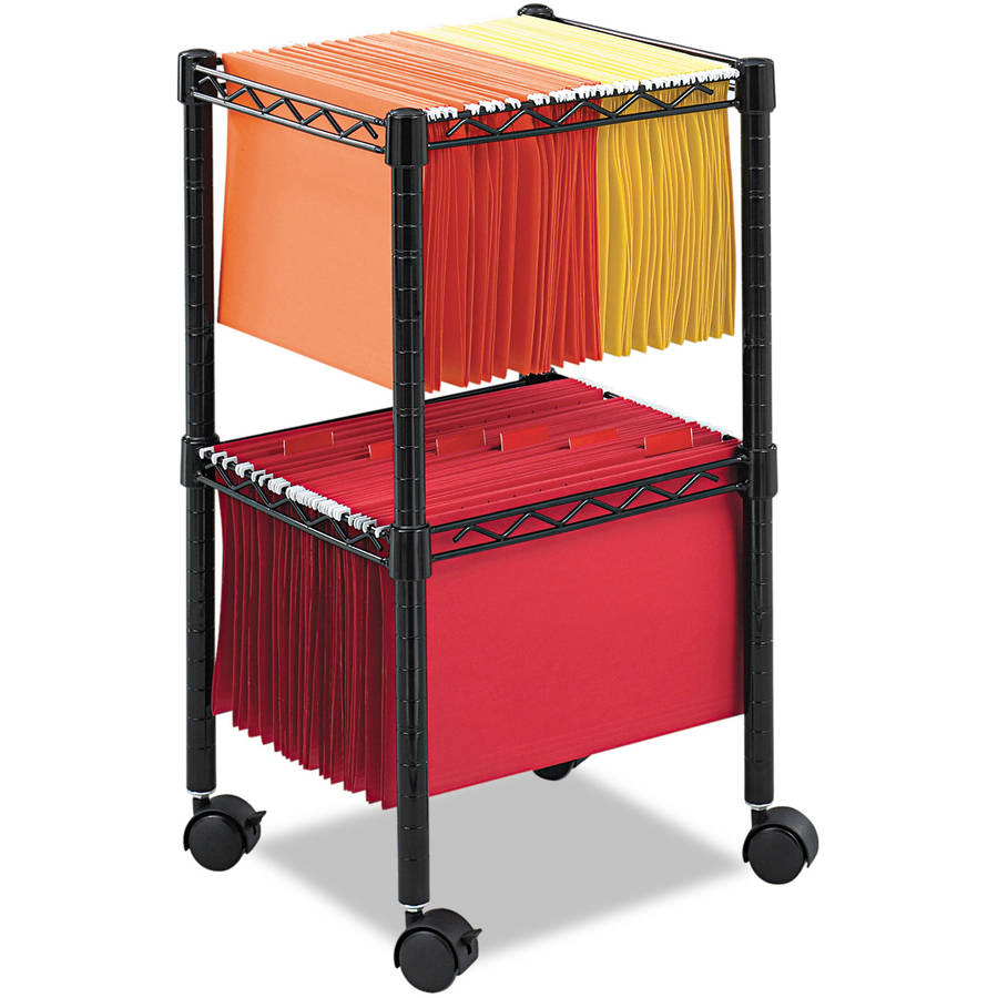 """Safco Two-Tier Compact Mobile Wire File Cart, Steel, 15-1/2""""W x 14""""D x 27-1/2h, Black"""