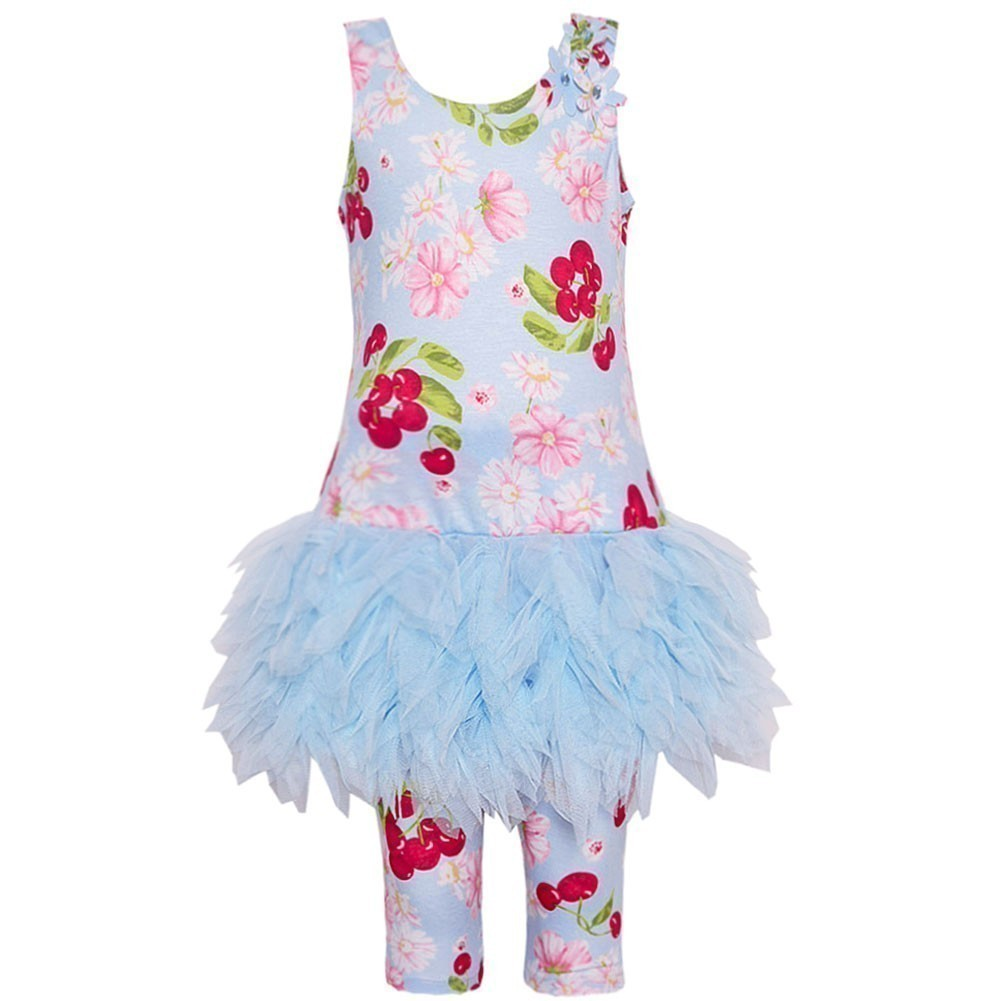 Kate Mack Little Girls Pink Blue Cherry Print Ruffle Dres...