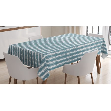 - Grey Blue Tablecloth, Sketch Style Illustration of Stripes with Oval Shapes Hand Drawn Composition, Rectangular Table Cover for Dining Room Kitchen, 52 X 70 Inches, Bluegrey White, by Ambesonne