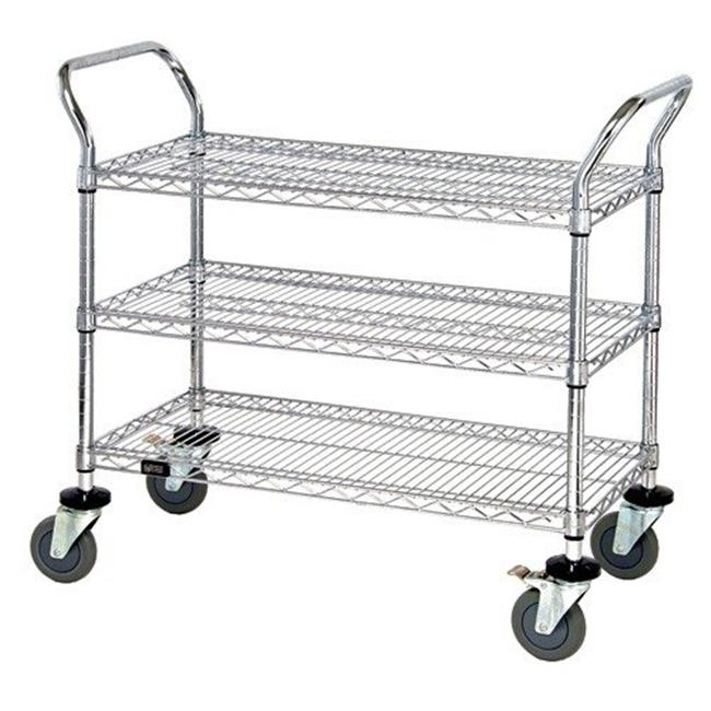 Wire Shelving Cart | Quantum Storage Wrc 1842 3co Wire Shelving Cart With 3 Shelves