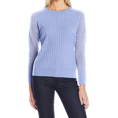 Womens Sweater Cornflower Small Cable-Front Pullover S