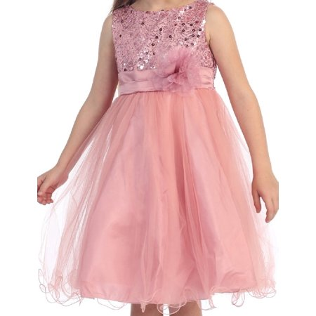 ac47a3423dd Sequin Glitter Round Neck Tulle Overlaid Big Flower Girls Dresses Rose 12 -  Walmart.com