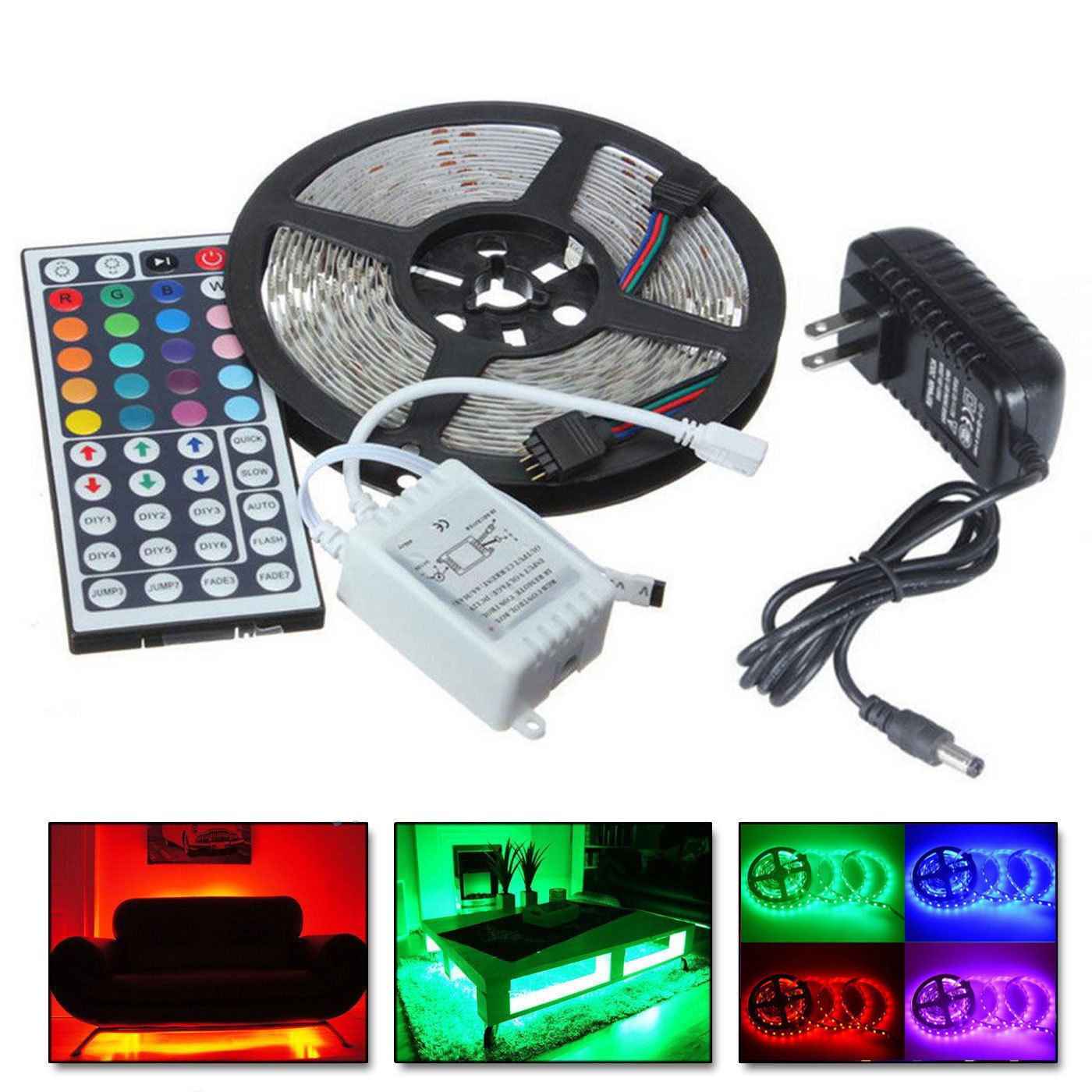 CASUNG 5M RGB 5050 Non Waterproof LED Strip light SMD with 44 Key Remote & 12V Power supply,Color Changing Flexible strip with White color