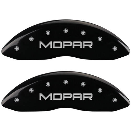 Set of 4 MGP Caliper Covers, 32016Smopbk, Engraved Front and Rear: Mopar, Black Powder Coat Finish, Silver Characters by MGP CALIPER COVERS