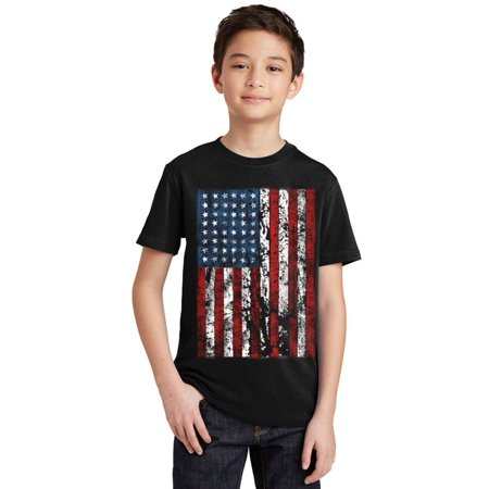 P&B Distressed USA Flag 4th of July Independence Day Youth T-shirt, Black, M