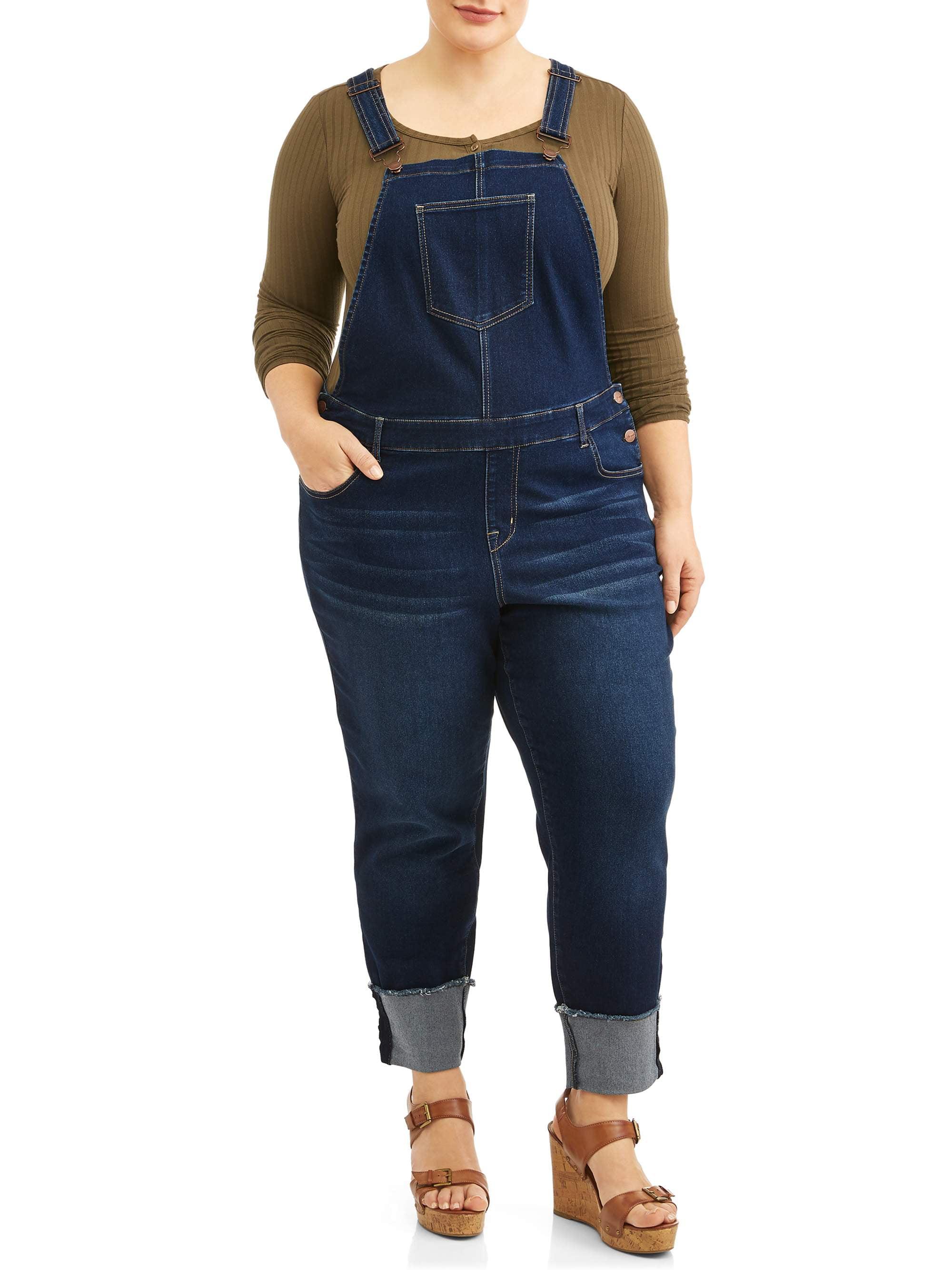 Women's Plus Size Wide Cuffed Stretch Denim Overall