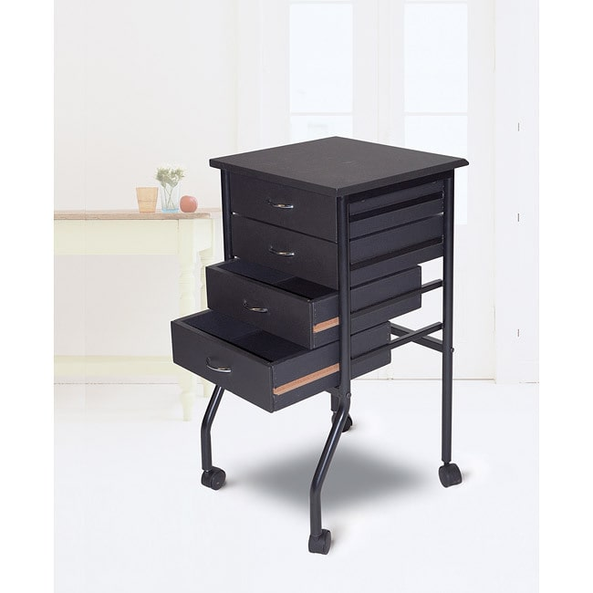 Martin Universal Design Cobalt Black Mobile Four-drawer Taboret with Durable Laminated Top