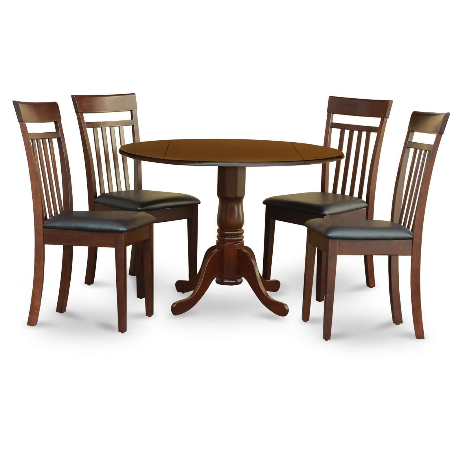 Silver Dining Table And Chairs, East West Furniture Dublin 5 Piece Drop Leaf Dining Table Set With Capri Faux Leather Seat Chairs Walmart Com Walmart Com
