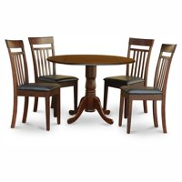 East West Furniture Dublin 5 Piece Drop Leaf Dining Table Set with Capri Faux Leather Seat Chairs