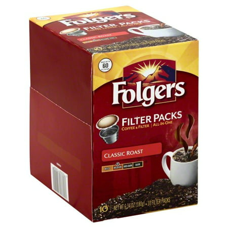 Folgers Classic Roast Coffee Filter Packs, 10 Count
