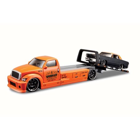 1965 Pontiac GTO on Flatbed, Black w/ Orange - Maisto 15055GTO - 1/64 Scale Diecast Model Toy