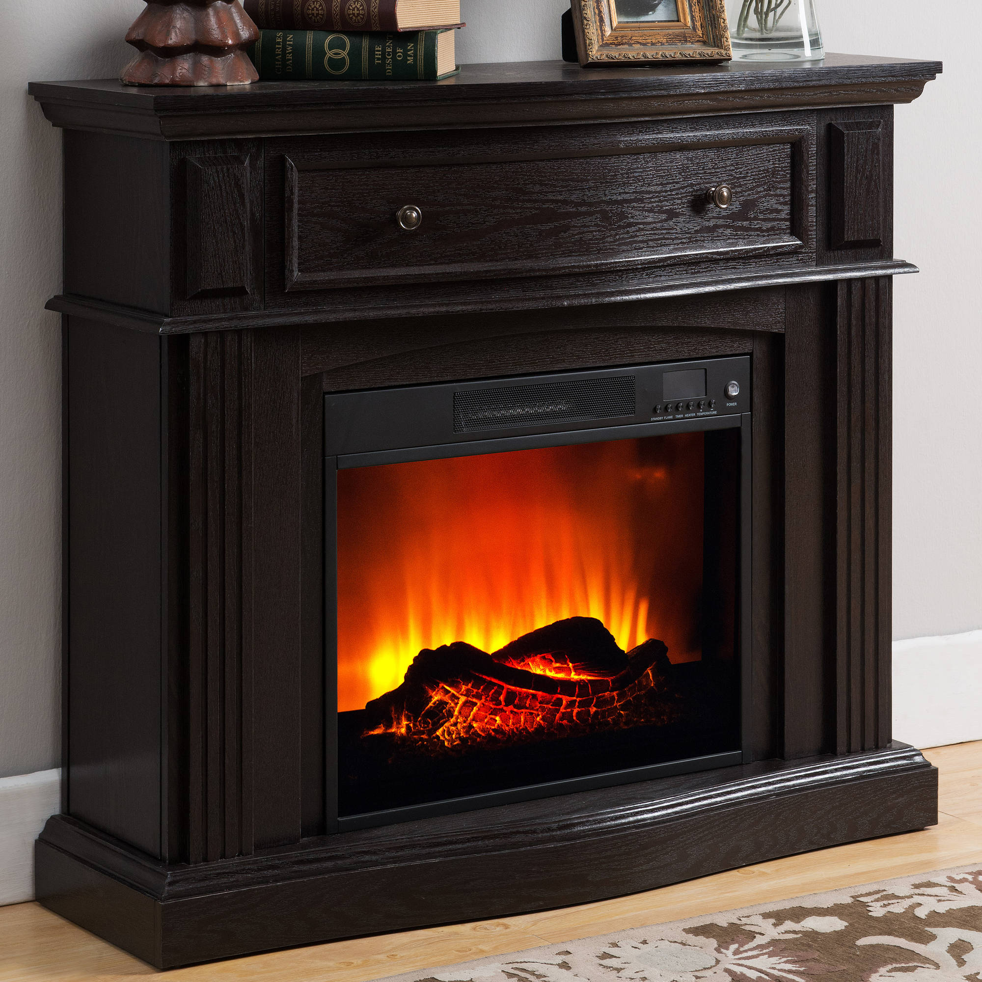 Prokonian Electric Fireplace With 44 Mantle With Storage Pr04