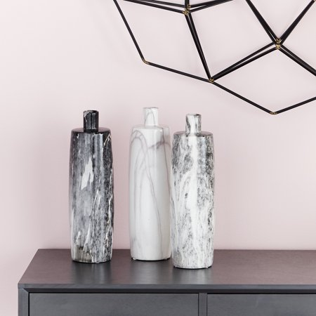 "CosmoLiving Handmade Tall Cylindrical Ceramic Bottle Vases with Glossy Black, White, Gray Marble Finishes | Set of 3: 4"" x 13"""
